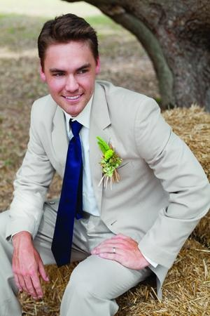Khaki Groom's Suit #country #wedding