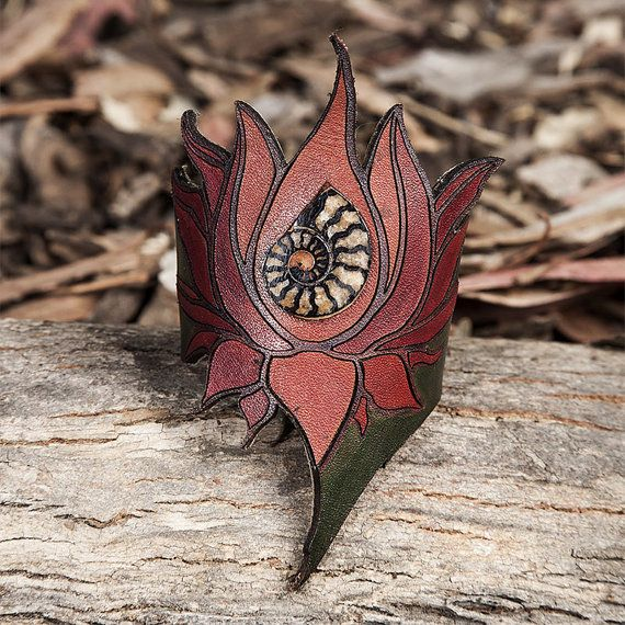 Lotus Ammonite Fossil Leather Wrist Cuff by featheryleathery
