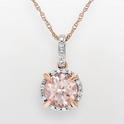 Best 25 rose gold pendant ideas on pinterest kendra scott 10k rose gold morganite and diamond accent pendant mozeypictures Choice Image