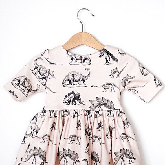 Dinosaur on Cream Organic Cotton Baby Dress by RockyRacoonApparel