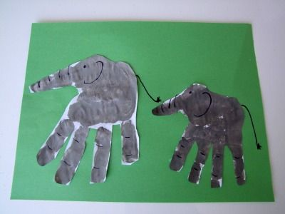 Class display idea.... each child makes a hand-print elephant - display them in a line along a wall of the classroom