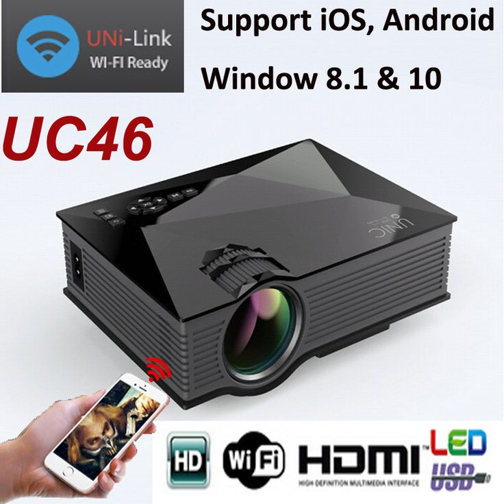 Unic UC46 1200 Lumen Handheld Mini LED Home Cinema Projector Wireless Connect Smartphone 800*480 Support Miracast DLNA Airplay