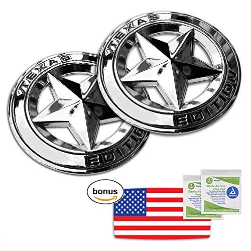 """TEXAS EDITION STAR CHROME EMBLEM (2pcs) with BONUS US FLAG STICKER and ALCOHOL PAD / UV & Weather Proof / For Toyota, Nissan, Ford, Chevy, GMC  INCLUDED - TWO (2) 3"""" Chrome Texas Edition Star Emblem Metal Decal Badge with BONUS US FLAG STICKER (3.6""""x2"""") and ALCOHOL PADS  UV & WEATHER RESISTANT - Extra UV Coating / Car wash safe  DURABLE - Extra Strength Double Sided Tape for Years of Fun  APPLY IN SECONDS WITHOUT HASSLE - Simply peel off and apply!  100% MONEY-BACK GUARANTEE - Our prod..."""