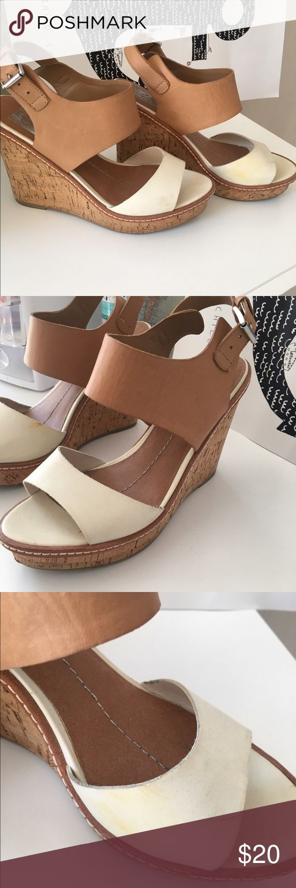 Cork Wedges Dolce Vita tan and white cork wedges. Buckle on the side. Slight wear in the form of scuff marks, could probably clean most of them off. Size 9 but fit small (I am a seven and they fit me). Dolce Vita Shoes Wedges