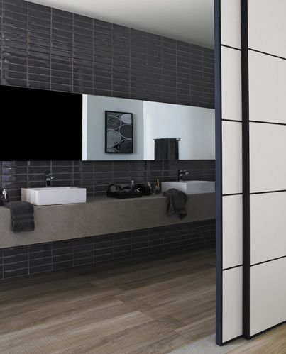 Combine grey, blue and wood-look tiles for a handsome bathroom everyone will adore.