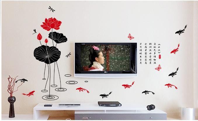 Lotus Стены наклейки Рыбы Лотоса Китайский Дизайн Стены Искусства Настенной Росписи Наклейка Завод Лотос Номер Домашнего Украшения