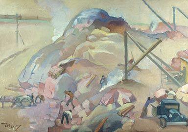 Martta Wendelin, maalaus 1930-luku.  Messuhallia rakennetaan.
