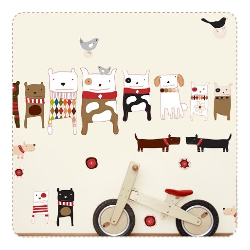 Dogs Movable Fabric Wall Stickers by Carolyn Gavin for Chocovenyl