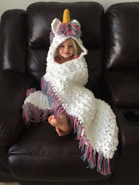 Cobertor de unicórnio, cobertor de unicórnio de crochê, cobertor de unicórnio com capuz, unicórnio, cobertor de crochê, cobertor de unicórnio adulto, bebê, roupas de bebê menina