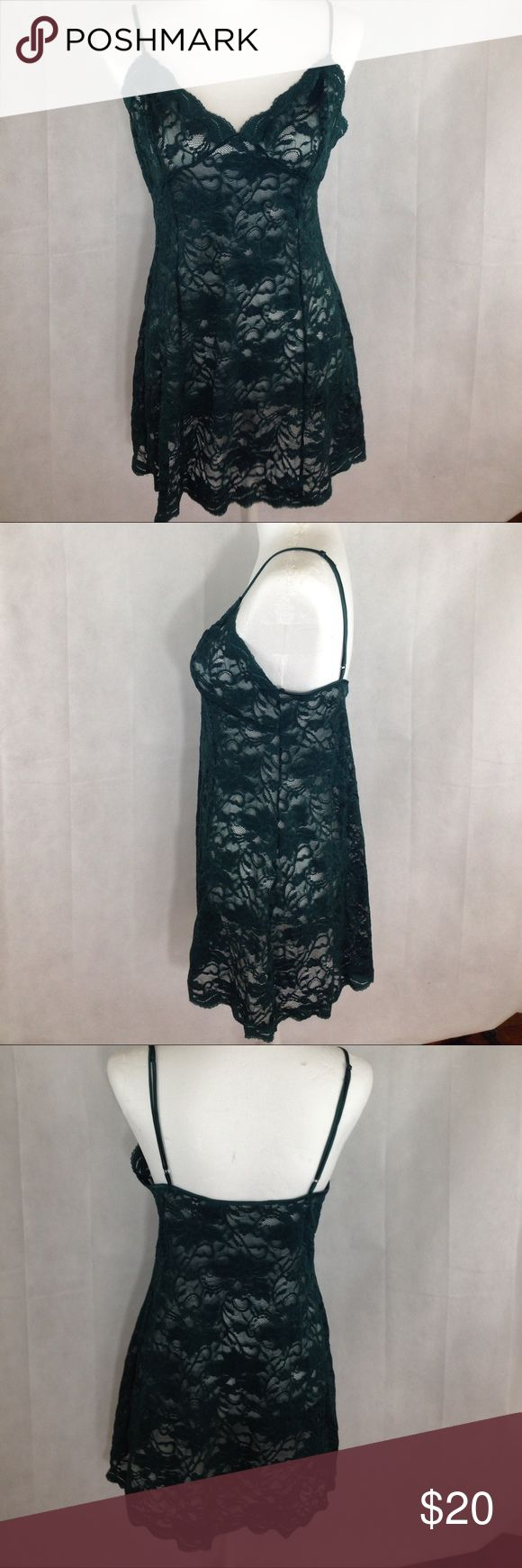 Victoria's Secret hunter green lingerie size M Victoria's Secret hunter green teddy size medium. Good condition no rips stains or holes. Smoke free home. Bust 30 length 27 Victoria's Secret Intimates & Sleepwear Chemises & Slips