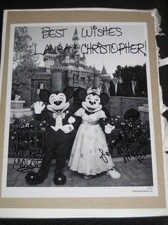send Mickey and Minnie an invitation to your wedding, they'll send you an autographed photo and pin. The Magic Kingdom C/O Mickey & Minnie Mouse 1675 N Buena Vista Drive Lake Buena Vista, FL 32830