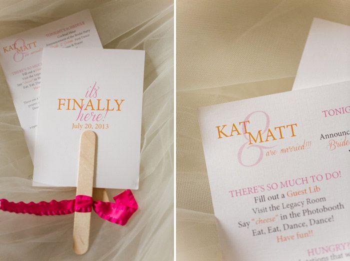 Reception Program.   [Katelyn James Photography]