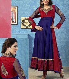 Buy Adorable maroon & royal blue salwar kameez semi-stitched-salwar-suit online