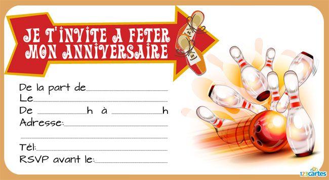 Invitation anniversaire bowling gratuite | 123 cartes | Anniversaire bowling, Carte invitation ...