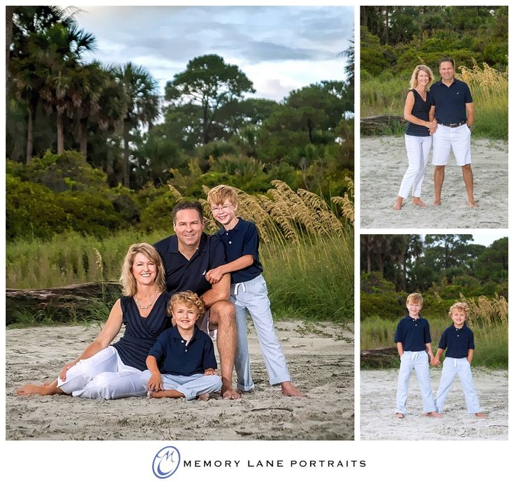 Beach portraits by the dunes family of four white and navy hhi