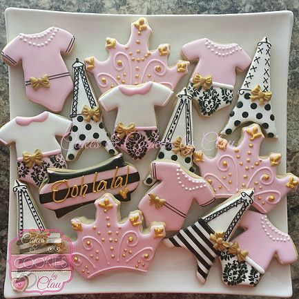 Girl Baby Shower Cookies, Decorated Cookies, Parisian Themed Baby Shower  Cookies, Eiffel Tower