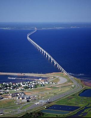 Confederation Bridge spanning Northumberland Strait, linking Prince Edward Island with mainland New Brunswick, Canada