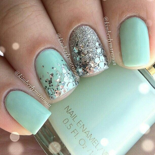 Aqua nails (with just a little bit of sparkle!)