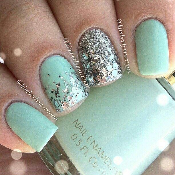 Aqua nails (with just a little bit of sparkle!)