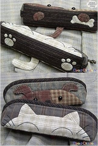 How to make kitten pencil bag step by step DIY tutorial instructions