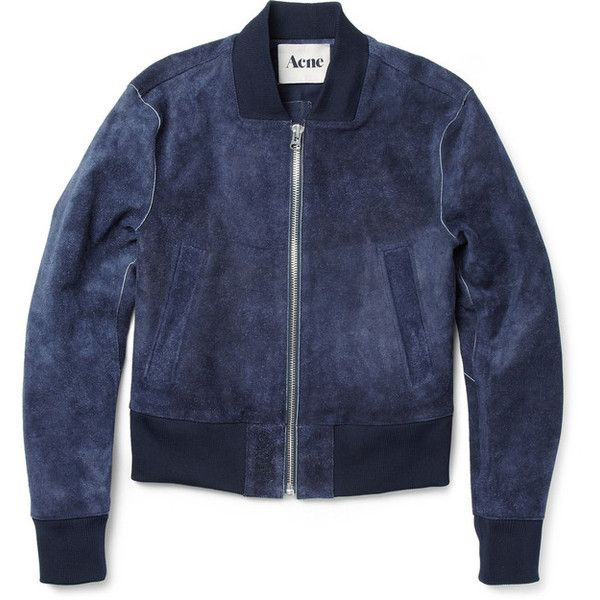 Acne McKenzie Suede Cropped Bomber Jacket | MR PORTER ($500-5000) ❤ liked on Polyvore featuring outerwear, jackets, coats & jackets, tops, blue cropped jacket, suede leather jacket, bomber style jacket, suede jacket and bomber jacket