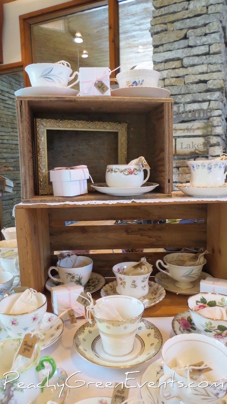 Tea Cup favours Fort Whyte Alive Winnipeg with Peachy Green Events Rental Crates and Frames