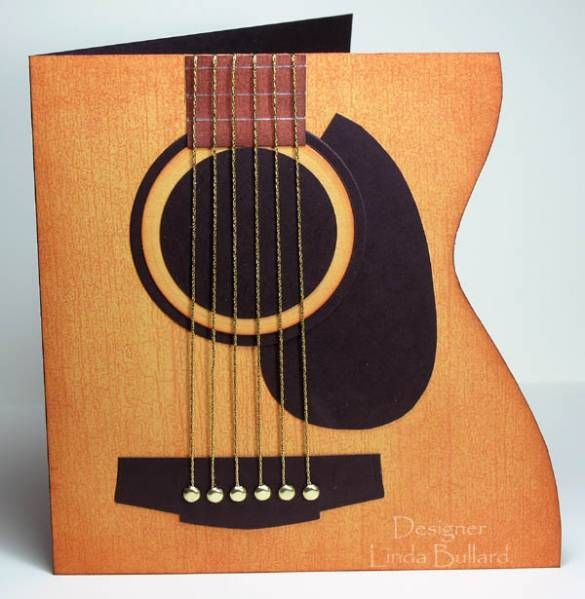 I've had this fantastic guitar card by cindy_canada saved in my favorites for quite a while:  http://www.splitcoaststampers.com/gallery/photo/953147?si=guitar&perpage=90&thumbsonly=0&thumbcheck=  Here's my version, and I'll share how I did it.  I needed a template, because I'm no good at free-handing a design.  I found this photo of an acoustic guitar on the Internet:    http://www.fotosearch.com/CSP014/k0146580/  I copied the picture into WORD and sized it to 5 1/2 inches tall (the finished…