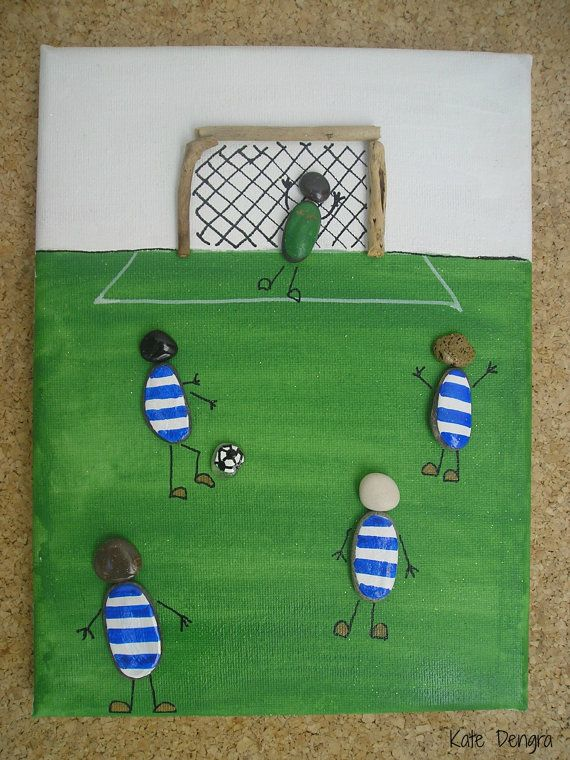 MTO FOOTBALL Soccer SCENE Rock Pebble Stone Sea Glass Driftwood Pottery Brick Painting Made with Beach Finds Painted Canvas