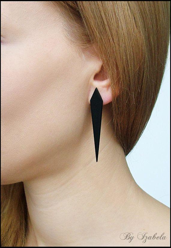 Black Post Earrings / Gothic Post Earrings / Goth by ByIzabela, €10.00