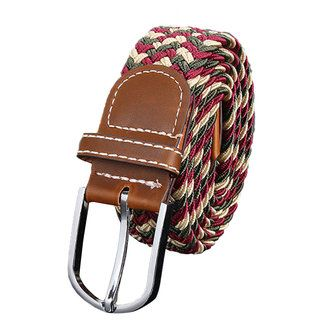 Unisex Men Stretch Braided Elastic Woven Leather Buckle Belt - US$6.59
