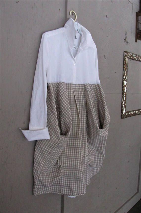 upcycled white shirt dress Boho Lagenlook clothing original