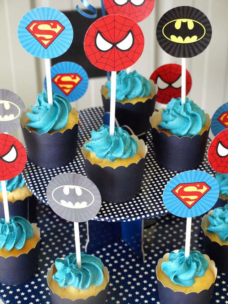 Cool cupcakes at a superhero birthday party! See more party ideas at CatchMyParty.com!