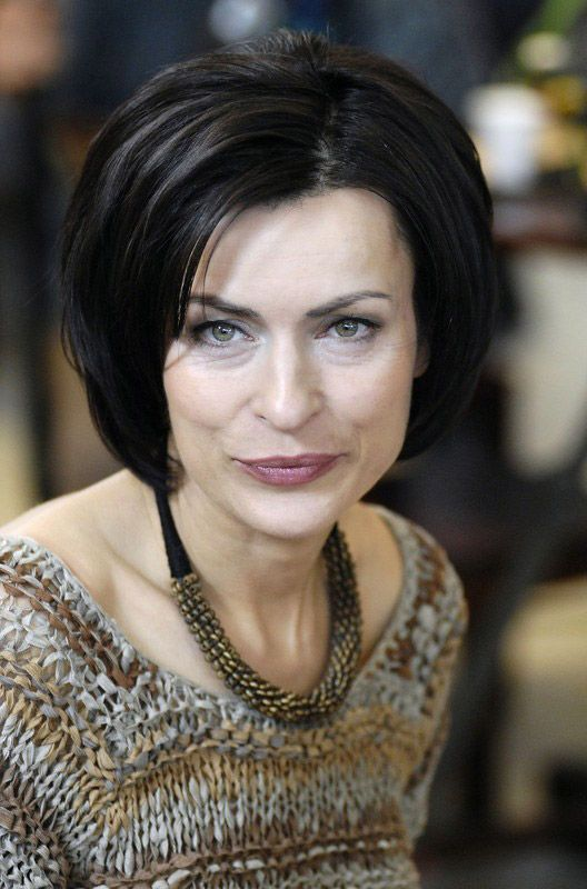 Danuta Stenka na planie serialu Piątek w 2006 roku