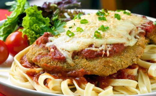 Chicken Parmesan. A better-for-you homemade version of a restaurant classic.