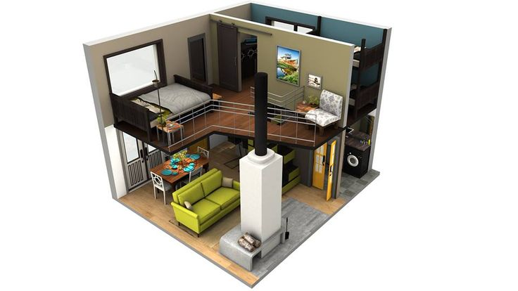 Tiny House Floor Plan; I like this one a lot except instead of the 2nd bedroom upstairs do walk-in closet/changing room/laundry.