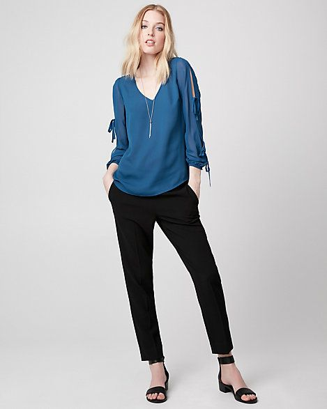 Crêpe de Chine V-Neck Blouse - Long sleeves gathered with knotted ties add an ultra-stylish touch to a smooth crêpe de Chine blouse that's perfect for any occasion.