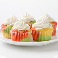 Tie Dyed Fruity Cupcakes made with jello &white cake mix.