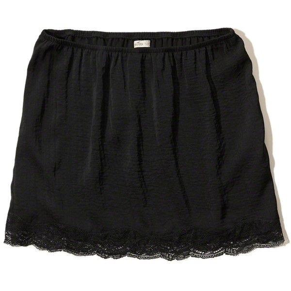 Hollister Lace Hem Slip Skirt ($30) ❤ liked on Polyvore featuring skirts, mini skirts, black, lace mini skirt, slip skirt, lace miniskirt, lace slip skirt and lacy skirt