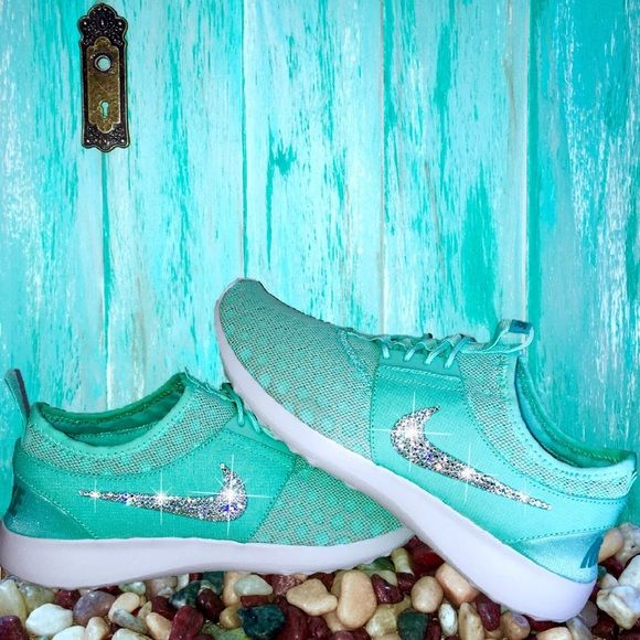 Nike Juvenate Tiffany Blue w/ Swarovski Crystals They're Back! Get your size it sells out! Authentic Women's Nike Juvenate Shoes in Tiffany Blue.  Outer swooshes are encrusted with hundreds of real Swarovski® crystals in all different sizes to ensure maximum brilliance and shine.  Shoes are brand new in original box, purchased directly from an authorized Nike retailer.  Crystals have been applied with industrial strength glue. Will never come off.  *Note* Please allow up to 2 weeks to…