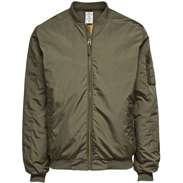 JACK & JONES Light Bomber Jacket (£31) ❤ liked on Polyvore featuring mens, men's clothing, men's outerwear, men's jackets, jackets, outerwear and olive night
