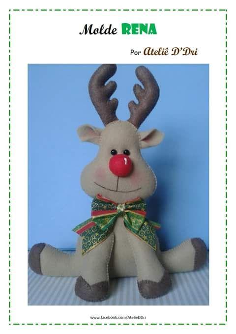 Feltro Fácil: Rena em Feltro para Enfeites de Natal; Reindeer Christmas Felt