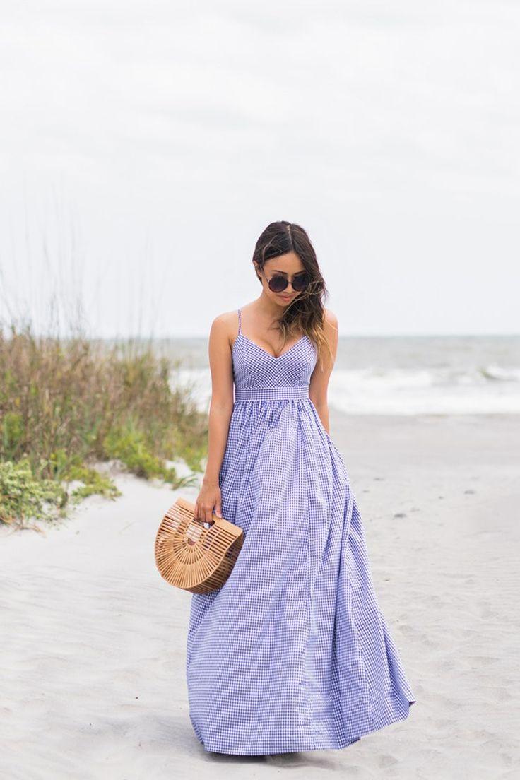 lace and locks, petite fashion blogger, oc fashion blogger, beach dress, folly beach, cult gaia ark bag, gingham maxi dress, charleston fashion blogger