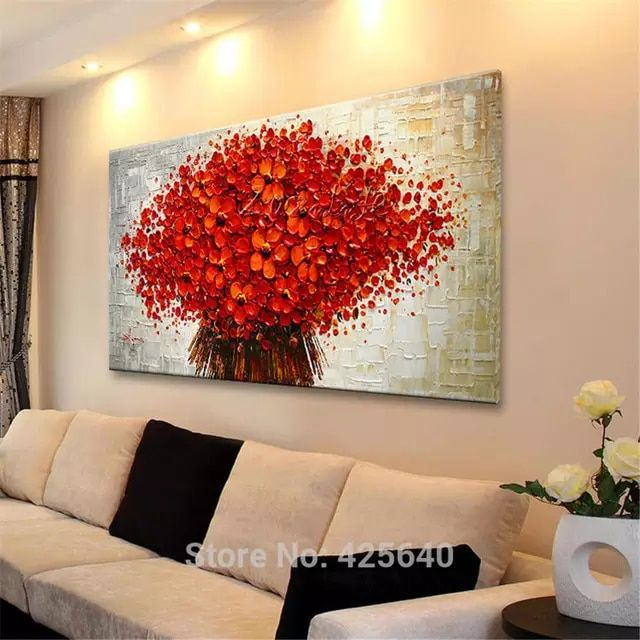 Canvas Oil Painting Cuadros Decoracion Palette Knife 3d Texture Acrylic Red Flower Wall Art Pictu Wall Painting Flowers Wall Art Pictures Oil Painting Abstract
