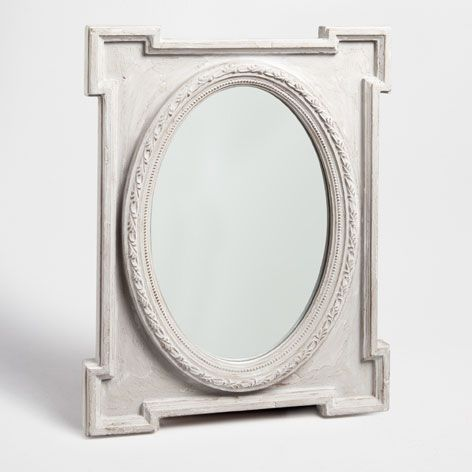 oval shaped mirror in rectangular frame mirrors decor. Black Bedroom Furniture Sets. Home Design Ideas