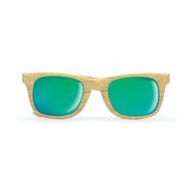 Image of Printed Classic Sunglasses With Wooden Look Finish. UV400