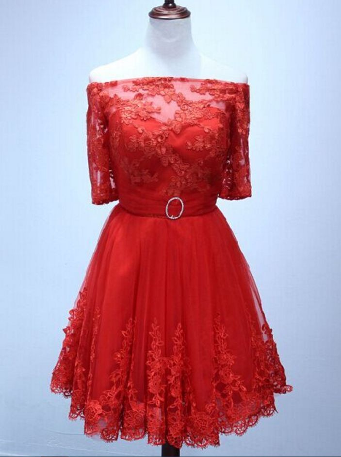 Cheap homecoming dresses ,Homecoming Dress Half sleeve red lace Short Homecoming Dress Short Prom Dress