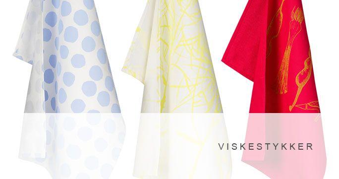 Viskestykker i 4 designs. Forskellige farver. http://shop.kurage.dk/kokken-spisestue/viskestykke.html