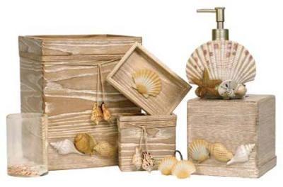 Beachy bathroom accessories.