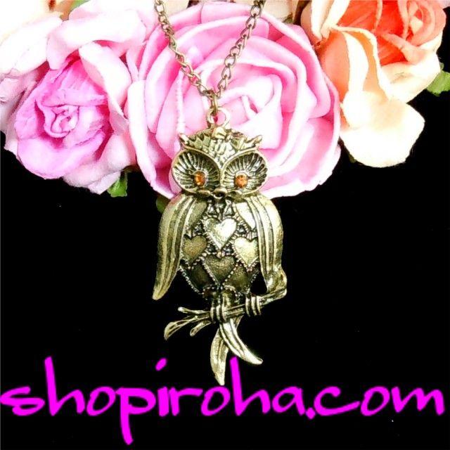 フクロウ ネックレス つぶらな瞳、アンティーク・ブロンズ色のフクロウ・ネックレス - shopiroha.com・ショップイロハドットコム