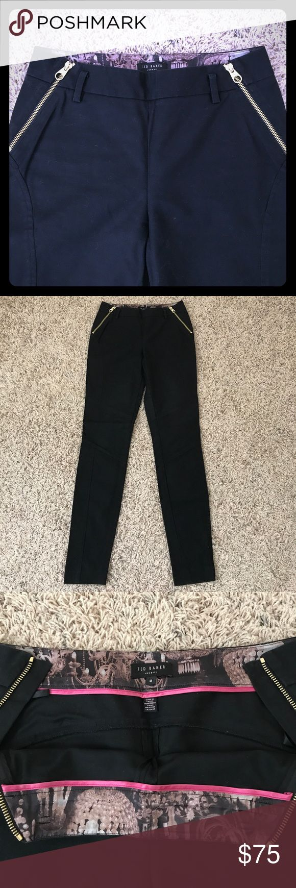 Never worn Ted Baker skinny black trousers The perfect pair of trousers for a sophisticated and trendy look. The skinny fit makes your legs look long and lean - who doesn't want that?! The golden zips on the side add a touch of ooh la-la 💕 Ted Baker London Pants Trousers